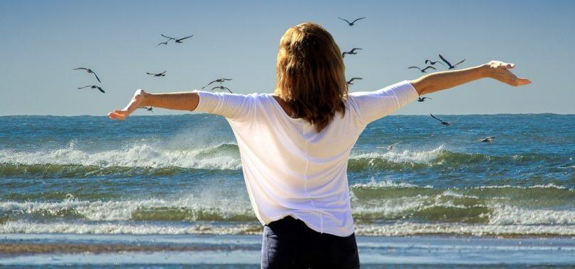 plaža, žena